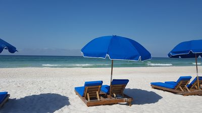 Two beach chairs and an umbrella - included March thru October