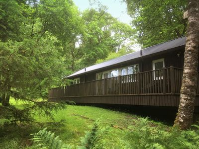 Photo for LIEVER is a charming log cabin in a beautiful forest location close to Loch Awe