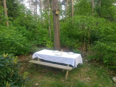Photo for Romantic holiday chalet with spacious garden in a holiday park, in the middle of the forest