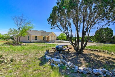 The vacation rental home sits on a beautiful piece of land!