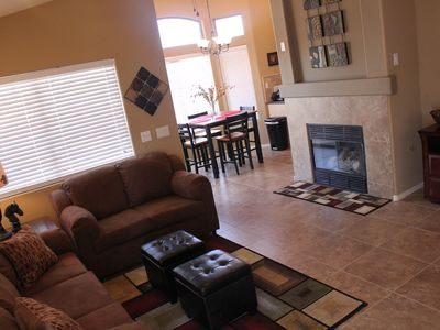 Spacious  living room with gas fireplace