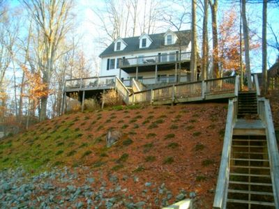 Photo for Aspiration: Huge 3000 sq ft home, party deck at dock, room for everyone, air hockey, foosball, wrap around porch
