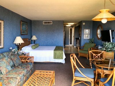 Photo for BEACHFRONT RESORT: PARTIAL OCEAN VIEW STUDIO, FULLY EQUIPPED, WiFI & CENTRAL A/C