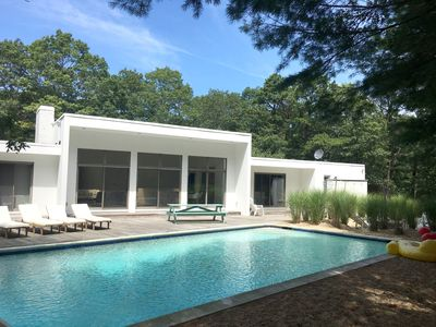 Photo for Midcentury-style Quogue house with pool and tennis