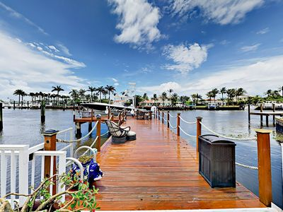 Photo for Waterfront 4BR w/ Heated Pool, Spa, Private Dock, Covered Patio & Billiards