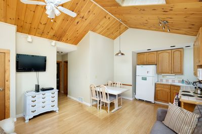 Kitchen/ Living area, vaulted ceilings with skylight and ceiling fan.