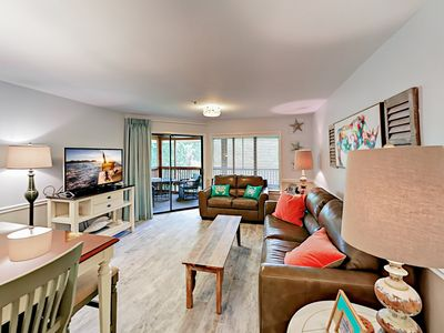 Living Room - Welcome to Myrtle Beach! Your lakeside villa is professionally managed by TurnKey Vacation Rentals.