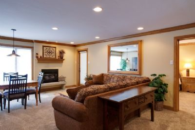 Living room with TV, sleeper sofa, and gas fireplace.