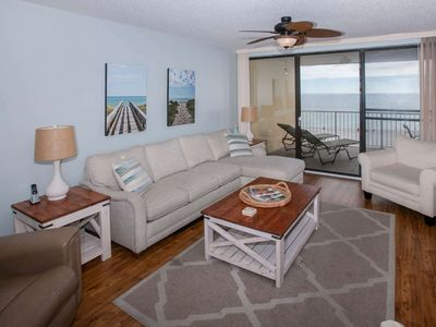 Photo for Gulf-front on 5th Floor   Out/Indoor pools, Hot tub, Sauna, Fitness, Tennis, Playground, BBQ, Wifi