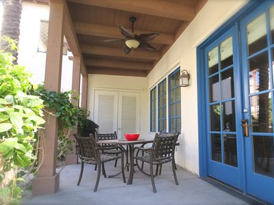 Welcome to our beautiful Legacy Villas home. Patio is great for alfresco dining.