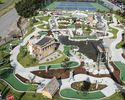 An aerial view of mini golf course alongside tennis court.