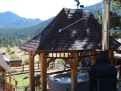 Photo for Romantic Cabin with Hot Tub, Outdoor Bar, Fire Pit, Soaking Tub, Next to RMNP
