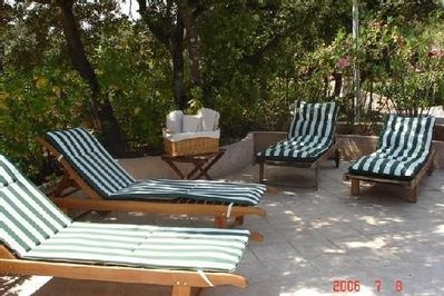 Your sun loungers by the swimming pool