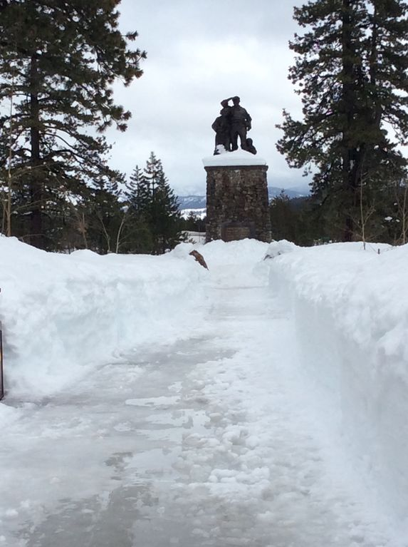 Heavy 2017 Winter snow at Donner Pass monument. Just North of Tahoe City.