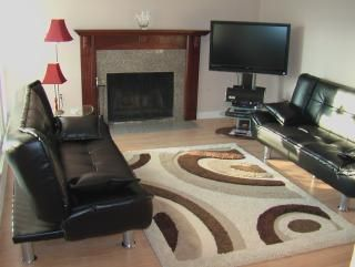 Living room with fireplace and 2 sofa-beds where can sleep 2-4 people