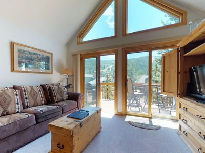 Photo for NEW LISTING! Large condo w/ski area views, shared hot tub - walk to the slopes