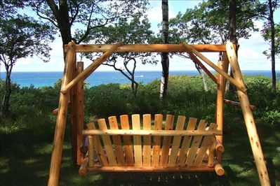 Bluff view of Lake Michigan from Adirondack swing