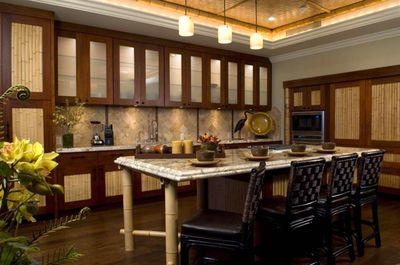 Kitchen: Custom Cabinets, Large Bamboo Bar Area with Seating for 5