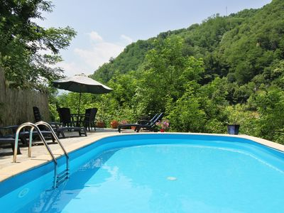 Photo for Apartment Poesia 2 bedrooms/ pool and garden in Bagni di Lucca