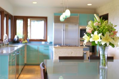Panoramic Ocean view Kitchen  & Top of the line kitchen amenities.