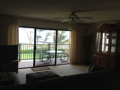 This is the living room and lanai, viewed from the entry to the rental.