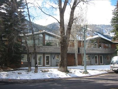 Villager Townhomes w/ views of Ajax Mtn from Great Room and large outdoor deck
