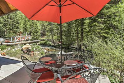 Lounge underneath the shade on your private patio!