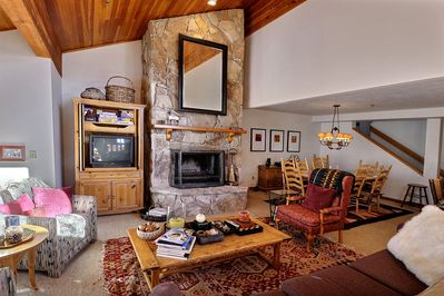 stay warm with this large fireplace