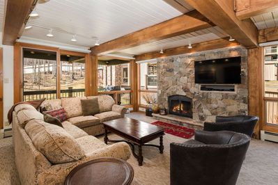 This Top of the Village condo has a view of the ski slope, a balcony with a gas grill, a gas fireplace and a flat screen TV.