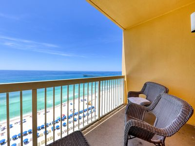Photo for Beautiful condo with beach access, shared heated pool, walk to Pier Park