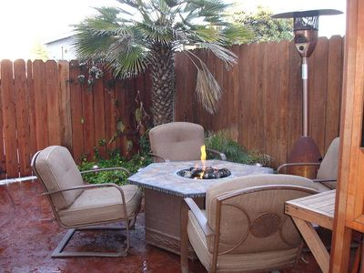 Private patio boasts a Fire Pit, BBQ, Patio Heater and a Private Hot Tub