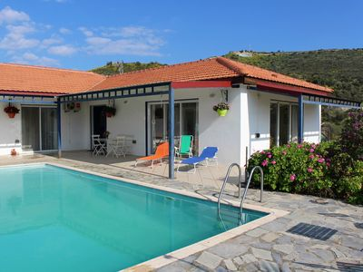 Photo for Large modern villa with private pool, garden, hilltop views, 10 mins from sea