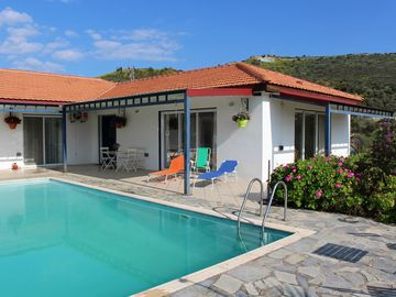 Large modern villa with private pool, garden, hilltop views, 10 mins from sea