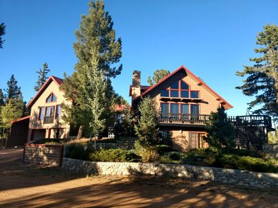 Photo for Peak at Paradise -Spectacular Log Cabin with Pikes Peak Views & On-site Fishing