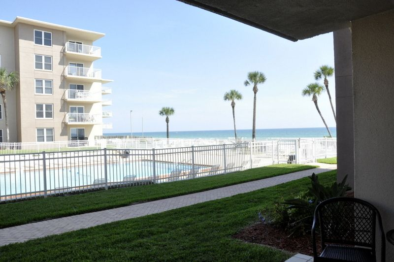 The No-Drive Beach is just a few steps away in this First Floor 2/2