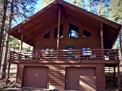 Photo for Log Cabin in tall pines, backs to forest, great hiking, biking, star gazing!