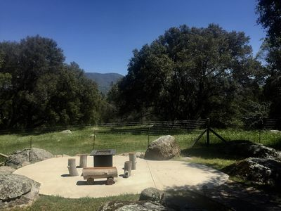 Propane fire pit with mountain & meadow views