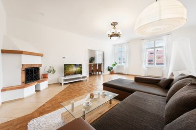 """Living room with Fireplace & 50"""" Smart TV"""