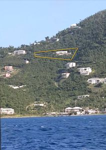 Villa seen from the ferry, land area indicated