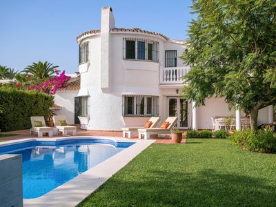 Photo for Beautiful villa with new garden and new swimming pool within walking distance of the beach and sea