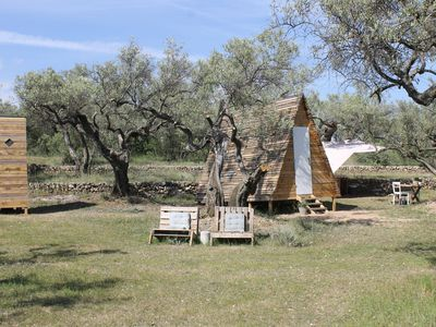 Photo for Unique A-frame eco cabin among the olive trees