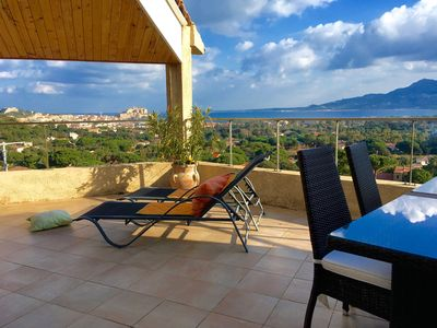 Photo for Beautiful apartment on the heights of Calvi - sea and mountains view