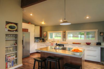 Lots of counter space, windows, open to living space