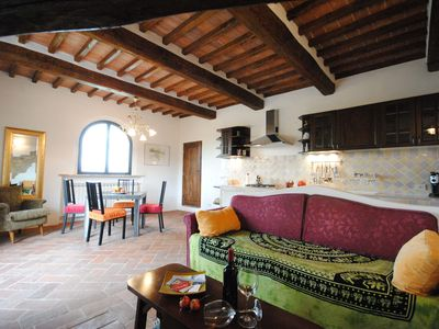 Photo for Panoramic apartment with terrace, pool and garden, just 5 km from the old town.