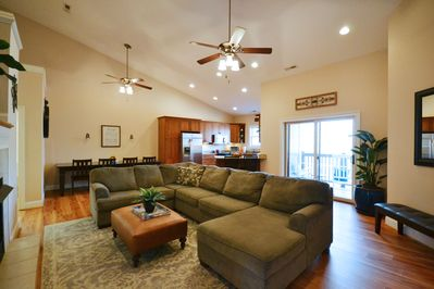 The great room: lofted ceilings and ceiling fans. Open floor plan for gathering