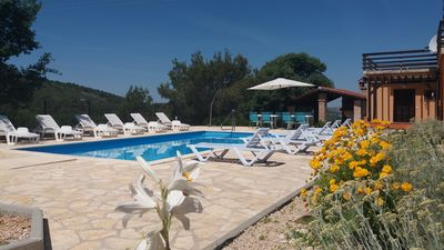 Photo for Apartment Bilice 10, outdoor pool, 4 km to the beach, 6 people, free WiFi, BBQ