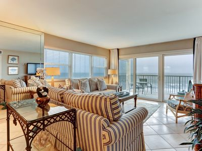 Amazing Views from this corner property on the top floor of this oceanfromt 7 story complex! Amenities include Community grills, pool, tennis courts and a 600' private fishing pier!