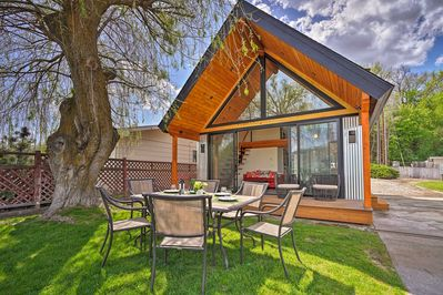 The 1-bed, 2-bath home is right on the lake with panoramic water views.