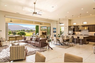 Spacious great room and gourmet kitchen with incredible views