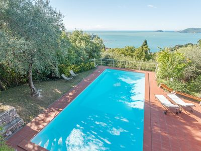 Photo for For 2 pax, Great Seaview, in private Med garden, pool, tennis, parking close to home.